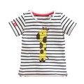 Маленькая девочка мультфильм с коротким рукавом рубашки 2017 лето младенца хлопка девушки полосатый с короткими рукавами Футболки печать