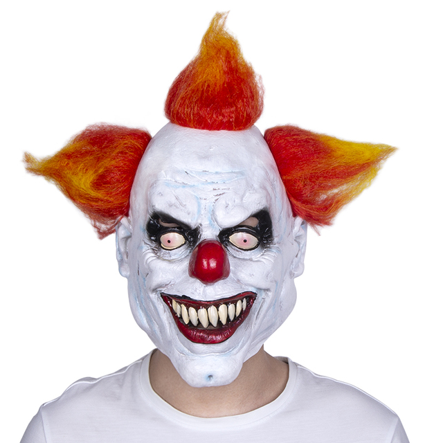 Scary Clown Halloween Costume.Us 11 03 15 Off Scary Evil Clown Mask Latex Rubber Mask Halloween Costume Clown Mask With Hair For Adults Free Shipping In Party Masks From Home