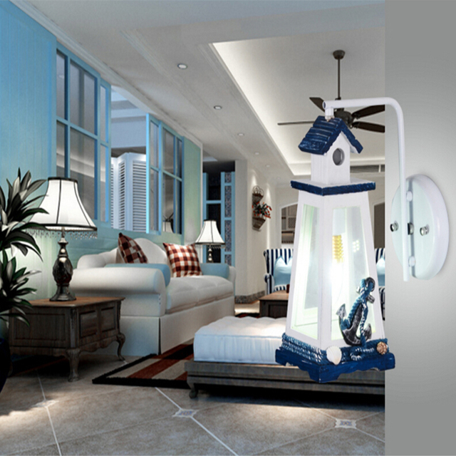 Lighthouse Cartoon Wall Lamp E27 Mounted Bedside Lamps AC 110V 220V  Mediterranean Indoor Lighting Kids