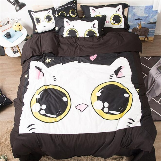 365188ad1e Cute Cartoon Dog Rabbit Unicorn Cat Printed Bedding Set Children Twin Queen  King Size Duvet Cover Sets Pillowcase Bed Sheets