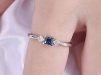 Natural Blue Sapphire Square Diamond 14k White Rose Yellow Gold Wedding Band Women Engagement Ring Bridal Promise Anniversary