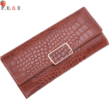 цена на 2019 New Brand High Quality Leather Long Large Capacity Women Wallets Designer Brand Clutch Purse Serpentine Wallet Card Holder