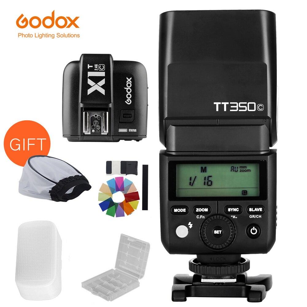 Вспышка Godox TT350C TT350N TT350S TT350F TT350O TTL HSS 1/8000s с передатчиком X1T для Canon, Nikon, Sony Fuji Olympus