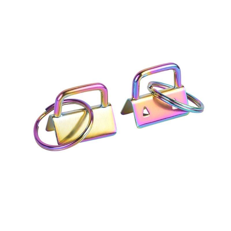 4Pcs Key Fob Hardware 25mm Rainbow Color Vacuum Plating keychain Split Ring For Wrist Wristlets Cotton Tail Clip Webbing Hardwar
