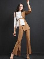 Высокое качество для женщин костюмы брюки для девочек костюм Блейзер Куртка и карандаш женский костюм осень