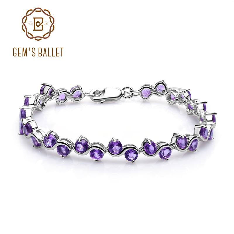 GEM S BALLET 9 04Ct Natural Amethyst Gemstone Bracelet Genuine 925 Sterling Silver Bracelets Bangles For