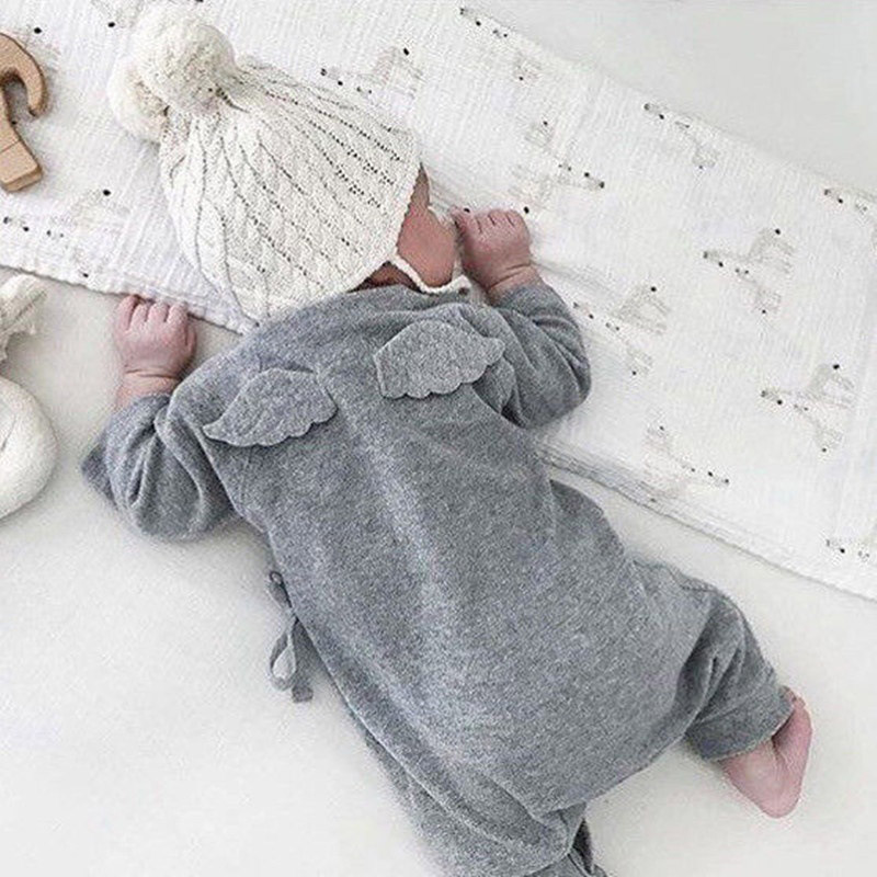 Cute Baby Girl Boy Belt   Romper   with Little Angel Wings Solid Grey White Babies Clothes 2019 Hot Spring Autumn Baby Cotton   Romper