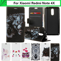 EiiMoo Wallet Capa For Xiaomi Redmi Note 4X Case Cartoon Paint Flip Leather Bag Cover For
