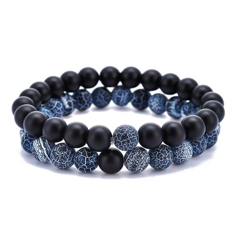 2Pcs/Set Lava Stone Beads Wrap Black White Couple Bracelets Natural Stone Charm Bracelets Women Men Bracelet Jewelry Beads