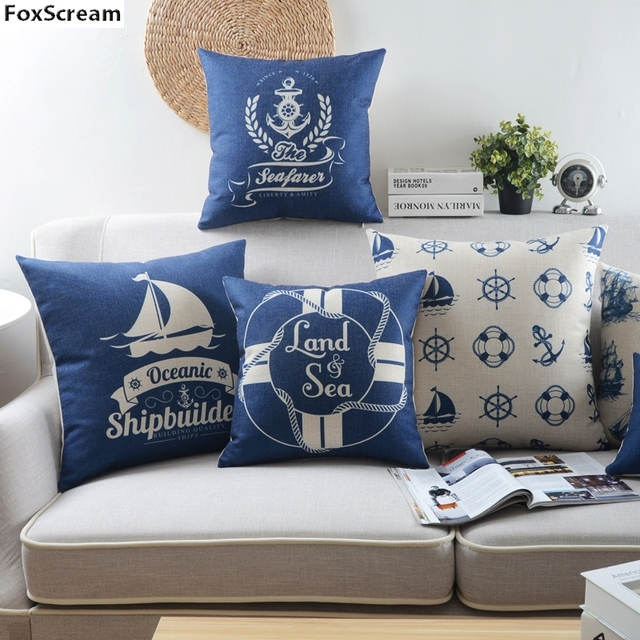 Beau Marine Style Pillow Covers Nautical Decorative Cushion Cover Home Decor  Blue Sea Anchor Sailboat Pillowcase For