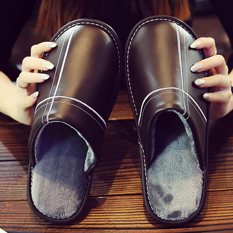 Winter Shoes Men's Plush Slippers Indoors Shoes Big Size 45/46 Unisex Slippers Warm Flat Leather Slippers Fashion Style 2019