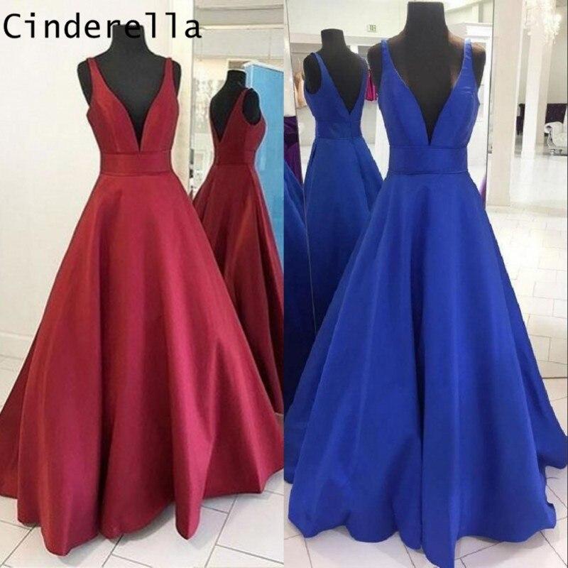 Cendrillon rouge/bleu Royal col en v profond sans manches longueur de plancher a-ligne Satin robes de bal Simple Style robes de soirée pour le bal