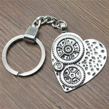 Women Jewelry Gift Key Chain New Vintage Metal Key Chains Antique Silver 48x38mm Heart Gear Charm Key Rings women jewelry gift key chain new vintage metal key chains antique silver 52x52mm big hollow carved heart charm key rings