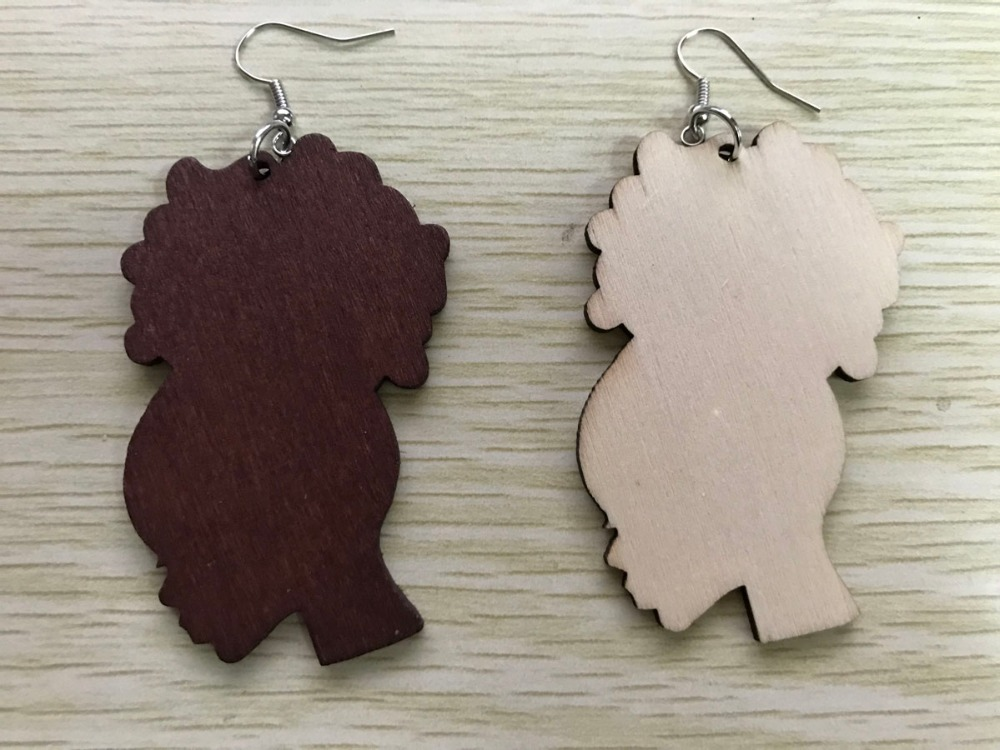 Natural Hair Afro Puff Silhouette Unfinished Wood Cutout