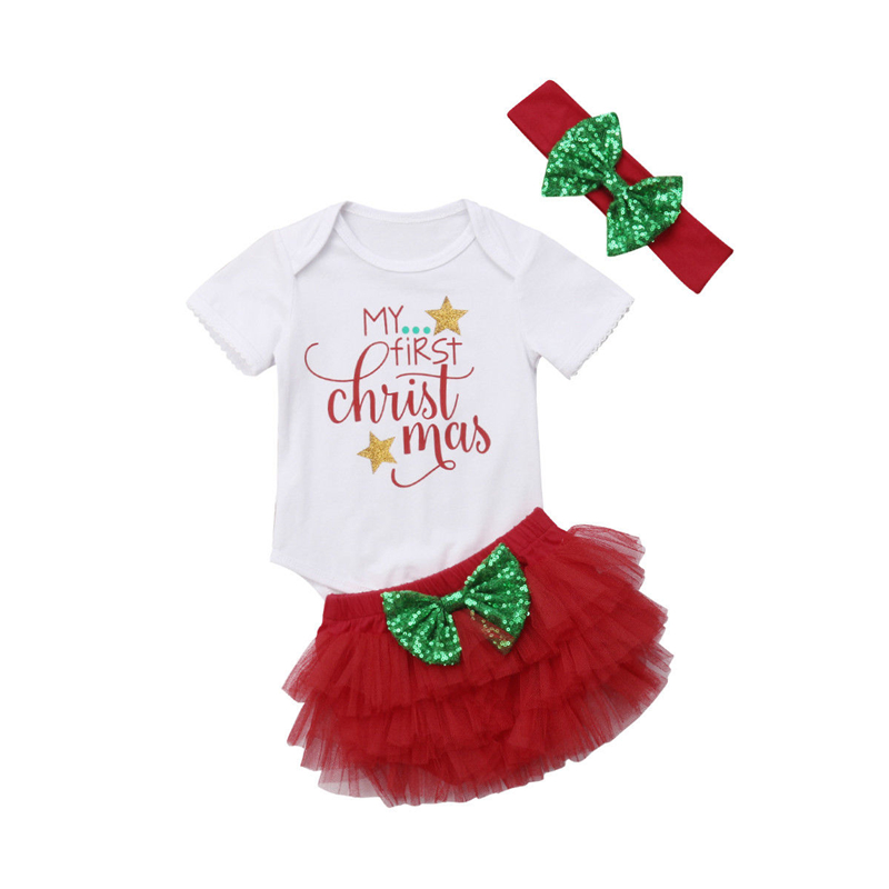 My 1st Christmas Baby Girl Xmas Gifts Costume Clothes 3Pcs Set Toddler Kids Girls Lace Tutu Romper Bodysuit Shorts Outfits Set цена