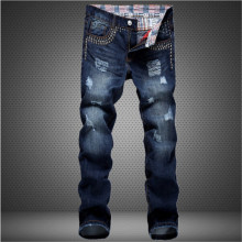 2015 new spring nail patch personality Metrosexual hole patched Jeans Mens cotton denim trousers