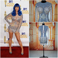 Nova Moda Vestido de Katy Perry Ver Embora Mini Short vestidos de Celebridades vestidos de Manga Comprida Sexy Vestido De Festa Vestidos No Tapete Vermelho 2016