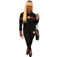Plus Size Sexy Summer Two Piece Set Green Red Striped Tracksuit Clothing Casual Tiger Head Long Pants Female W8028