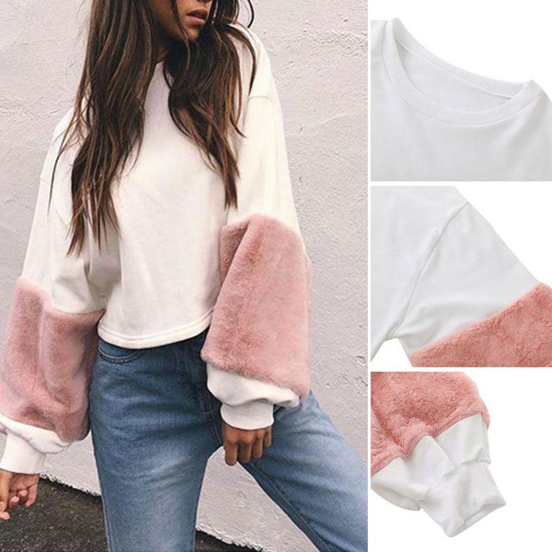 2017 Spring Autumn Faux Fur Hoodies Sweatshirt Casual Oversize White Sweatshirt Women Jumper Patchwork Long Sleeve