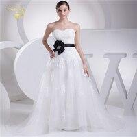 Jeanne Love New Arrival Wedding Dresses 2018 Tulle A Line Black Belt With Flower Robe De Mariage Vestido De Novia JLOV75928