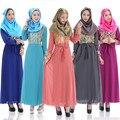 2016 gran tamaño Vestido de Manga Larga de La Gasa de Ganchillo Dubai Abaya Islámica Musulmán Túnica de Gala Vestidos de Las Mujeres la Ropa Musulmán