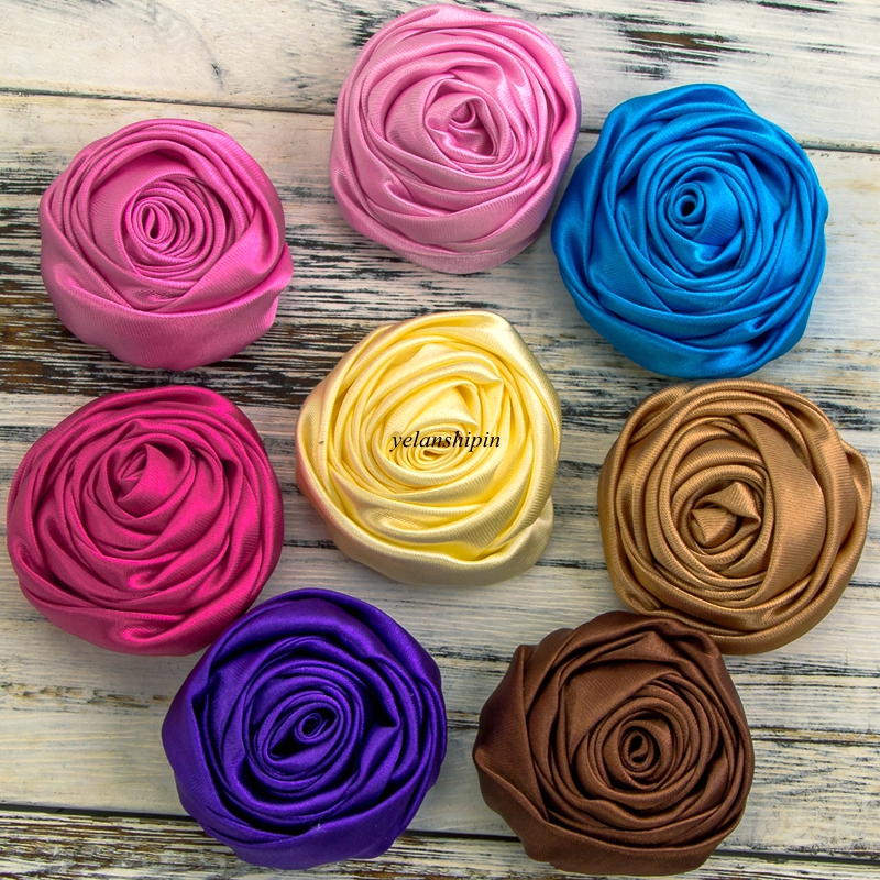 120pcs lot 5cm 20colors Hair Clips Handmade Rolled Soft Satin Rose Flowers Artifcial Solid DIY Fabric