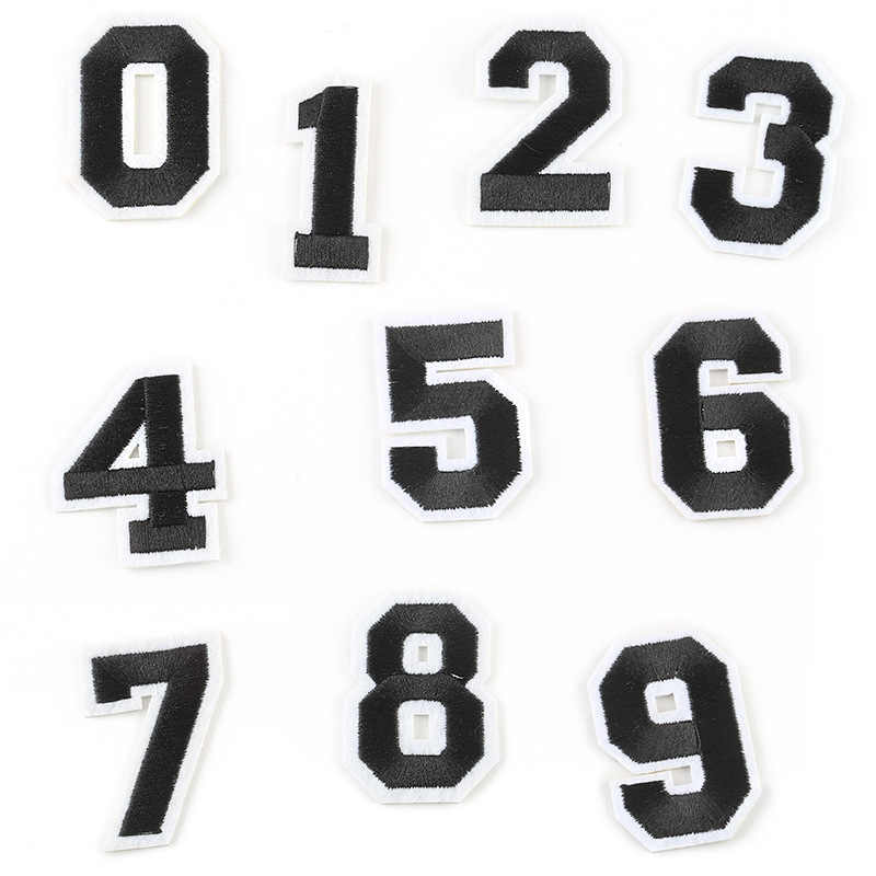 Number Patches Word Embroidered Iron on Patch Figure Digit for DIY letter Stripes Motif Appliques Garment Clothes Badge