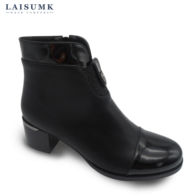 2017 LAISUMK Factory on Sale Thick Heel PU Leather Patchwork Short Women Boots Pointed Toe Fashion Ankle Martin Boots ...