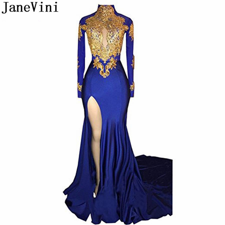 JaneVini African High Neck Mermaid   Bridesmaid     Dresses   Long 2018 Royal Blue Formal Prom   Dress   Split Gold Lace Wedding Party Gown
