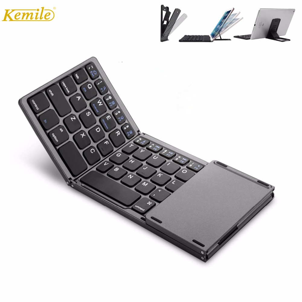 все цены на Kemile Portable Twice Folding Bluetooth Keyboard BT Wireless Foldable Touchpad Keypad for IOS/Android/Windows ipad Tablet онлайн