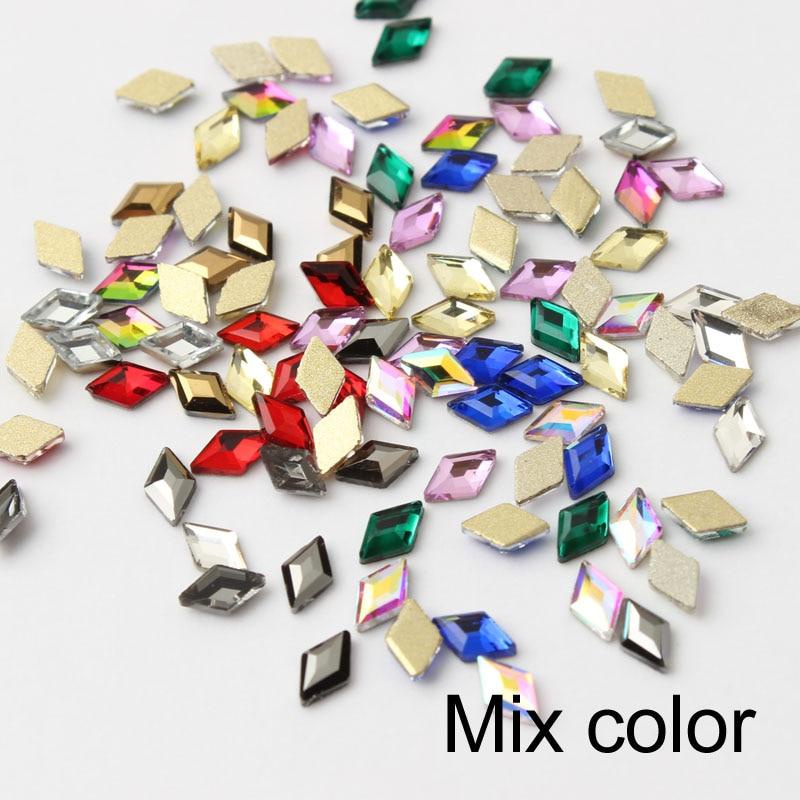30/100 шт./лот ногтей Стразы 3x5 мм Flatback ромб с цветными камнями для 3D нейл-арта украшения - Цвет: Mix Color