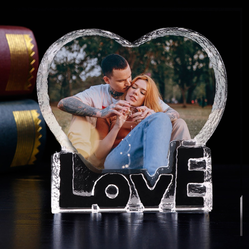 Customized Love Heart Shaped Crystal Wedding Photo Album Pictures Stickup Photo Frame Baby Decoration Friends Family Lover Giftsphoto albumphoto album picturesalbums pictures -