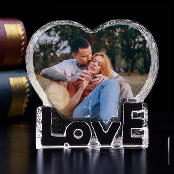 Dostosowane Love Heart Shaped Crystal zdjęcie ślubne Album zdjęcia Stickup ramka na zdjęcia dekoracja dla dzieci przyjaciele rodzina prezenty dla zakochanych tanie i dobre opinie XYGYP 10cm K9 Crystal Klejonej Love Heart Crystal Photo Album Ślub album Kryształ 80 Typu szafy