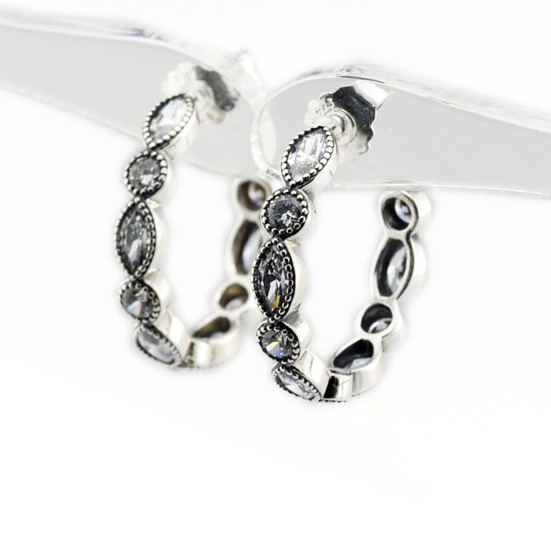Authentic 925 Sterling Silver Earrings Alluring Brilliant Marquise, Clear CZ Fit Women Jewelry Popular Hoop Earrings FLE068
