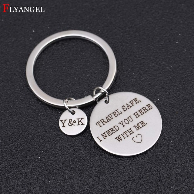 US $2 49 29% OFF|Custom Name Abbreviation Engraved Travel Safe I Need You  Here With Me Couples Keyring Women Boyfriend Valentine Gift Keychain-in Key