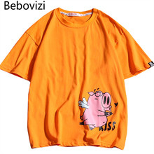 Bebovizi 2019 Men Animated Cartoon Pig T-shirt Summer Hip Hop Casual Tshirt Short Sleeve Streetwear Top Tee Loose Cotton T Shirt