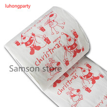 3packs 30m/pack Santa Claus Merry Christmas Printed Toilet Paper Tissues Roll Wholesale Party Table