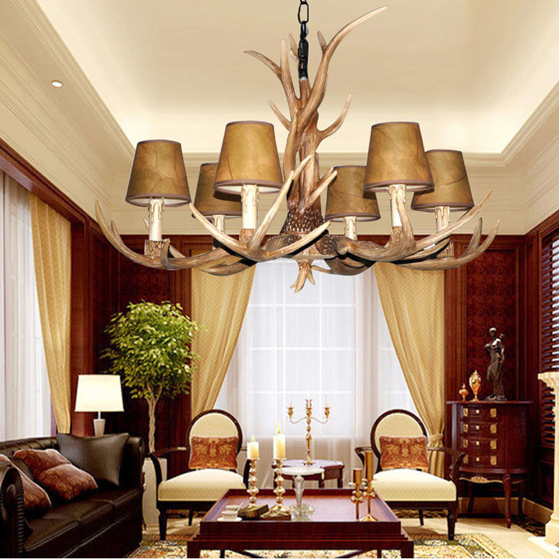 Europe Country 4 6 8 10 Heads living room antler chandelier American Retro kitchen Fixture resin
