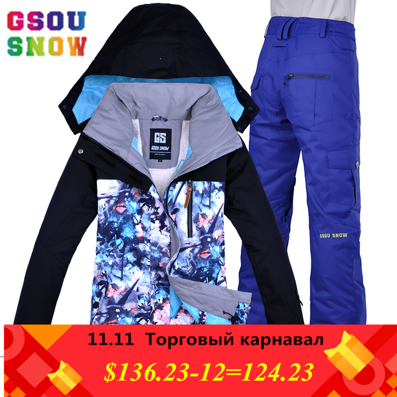 GSOU SNOW Waterproof Ski Suit Women Ski Jacket Pants Female Winter Outdoor Skiing Snow Snowboard Jacket Pants Snowboard Ski Sets