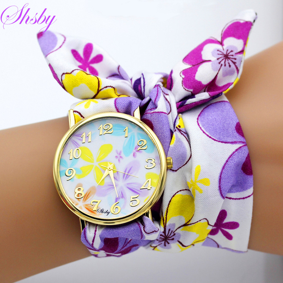 Shsby Brand Unique Ladies Flower Cloth Wristwatch Fashion Women Dress Watch High Quality Fabric Watch Sweet Girls Bracelet Watch