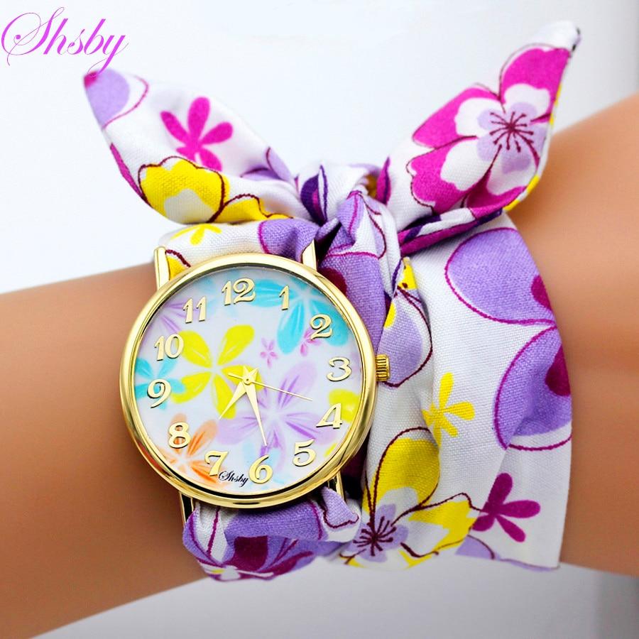 Shsby Brand Unique Ladies Flower Cloth Wristwatch Fashion Women Dress Watch High Quality Fabric Watch Sweet Girls Bracelet Watch