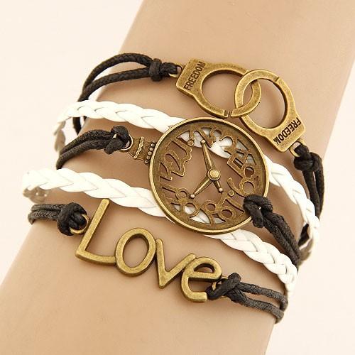 Leather Charm Bracelet -freedom