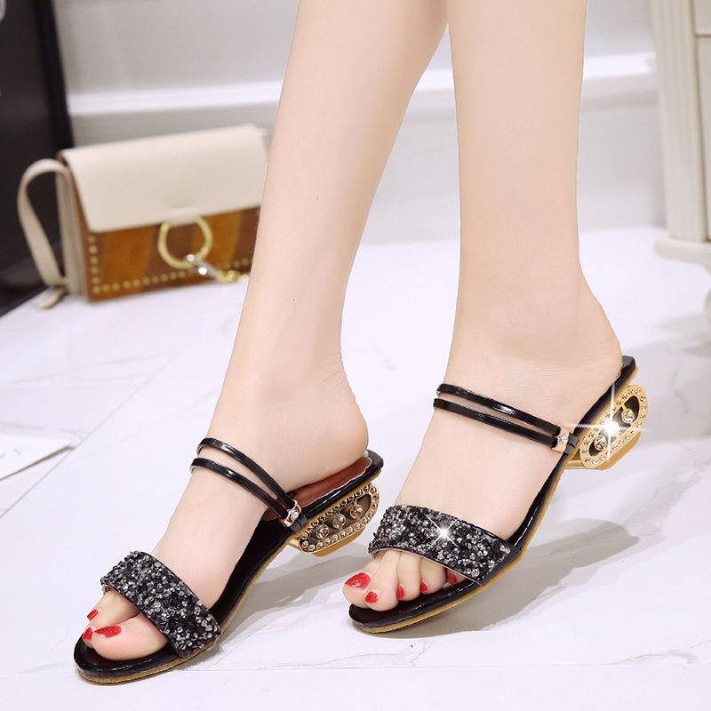 PKSAQ Women summer Drill slippers 2019 fashion square heel  women sandals sexy Hollow for shoes size 34-41