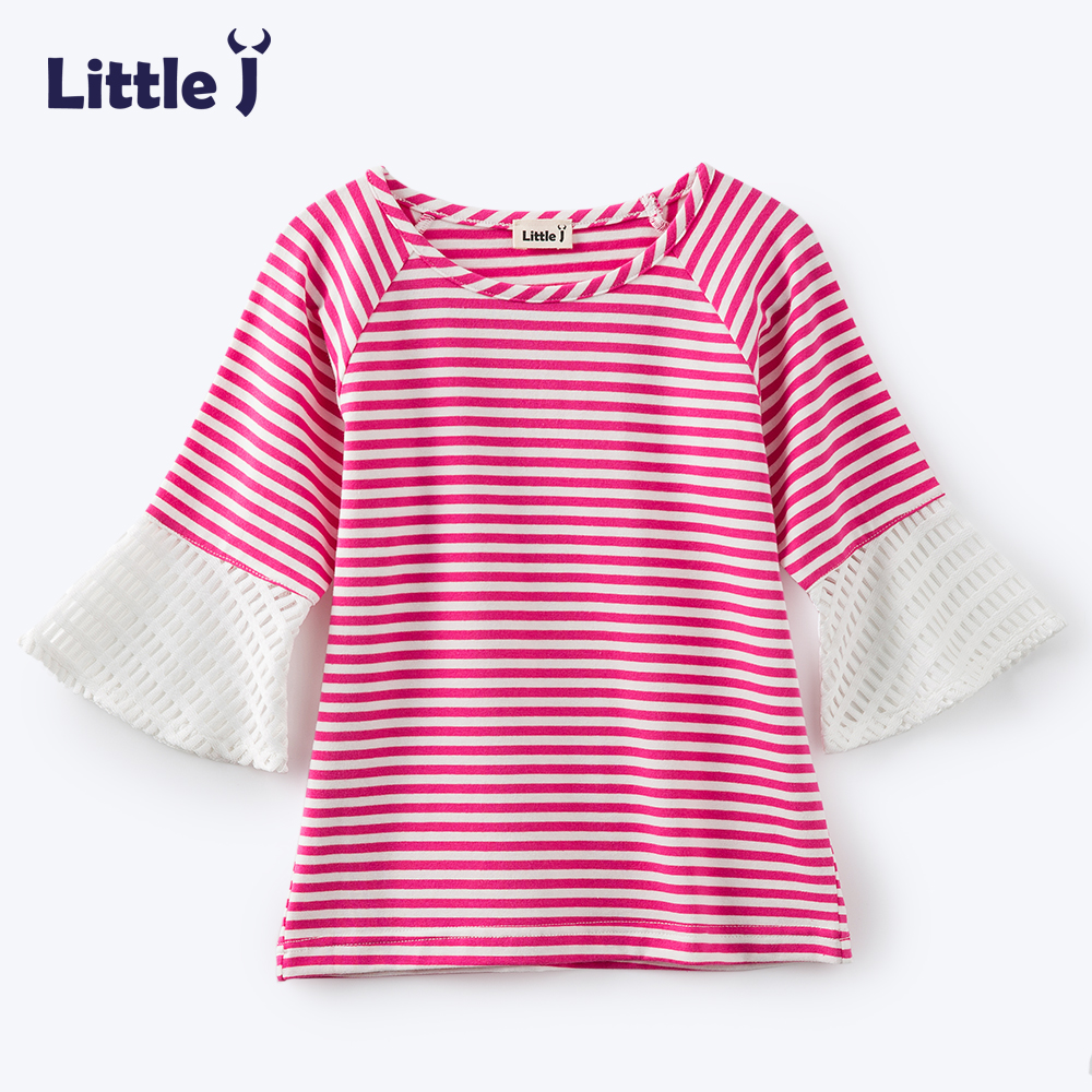 Clearance Girls Striped Flare Sleeve Tops Baby Kids Cotton Lace Three-Quarter Sleeves Blouses Shirt Casual Lovely Clothes 2-5Y