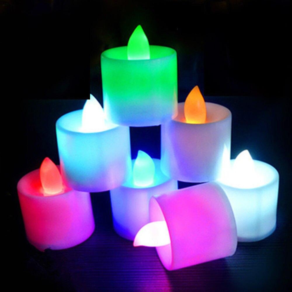 7pcs Electronic Candle Led Light Mini Colorful Romantic Smokeless Flameless Candle Lamp Wedding Birthday Party Christmas