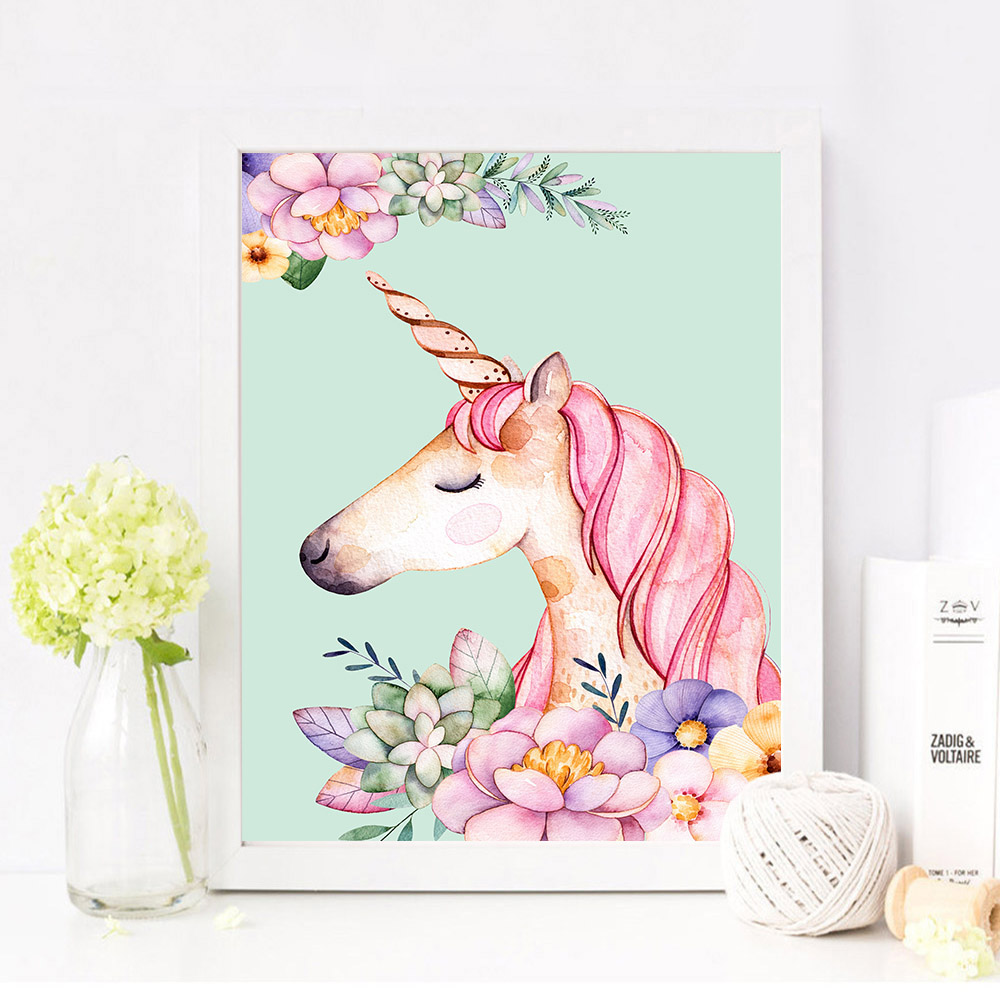 Flower-Unicorn-Flamingo-Poster-and-Print-Watercolor-Animal-Painting-Wall-Art-Decorative-Picture-Nordic-Style-Kids (1)