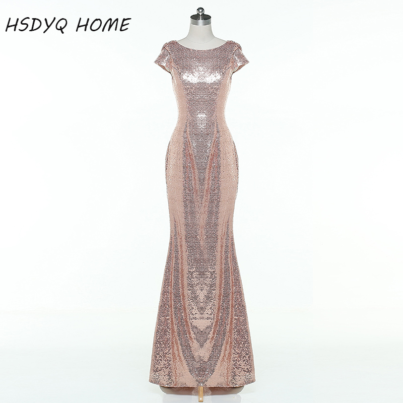 2016 Rose Gold Long Bridesmaid Dresses For Cheap Backless Wedding Party Gowns Sequins Dress