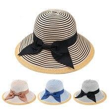 06e284e2 naziyu 10pcs/lot 01901-YJ249 bowknot Striped lady bucket Splicing cloth straw  hat