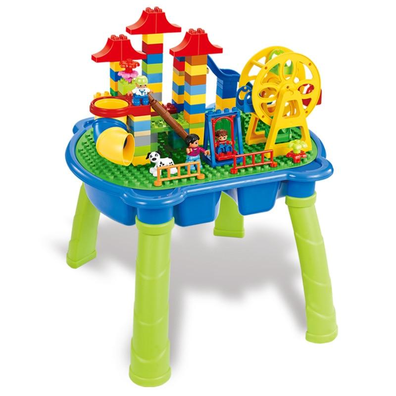 [Top] Multifunctionele Onderwijs Bouwstenen Tafel Bureau Speelgoed Pretpark Reuzenrad Blokken Diy Assemblage Model kids Gift