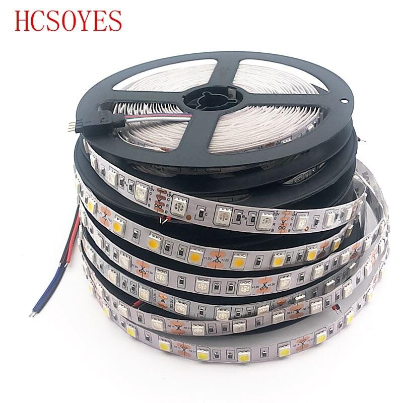 (5M/roll) DC12V 5050 SMD led strip 60leds/m non-waterproof whte PCB Light